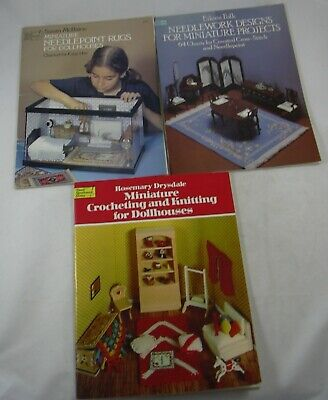 Needlepoint Rugs Miniature Dollhouse Projects Crocheting & Knitting LOT Dover for sale  Warrenton