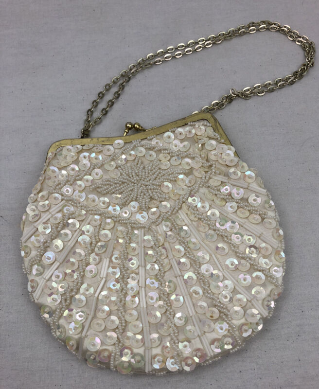 Vintage ivory color beaded & sequined Purse evening bag Hand Made In Hong Kong