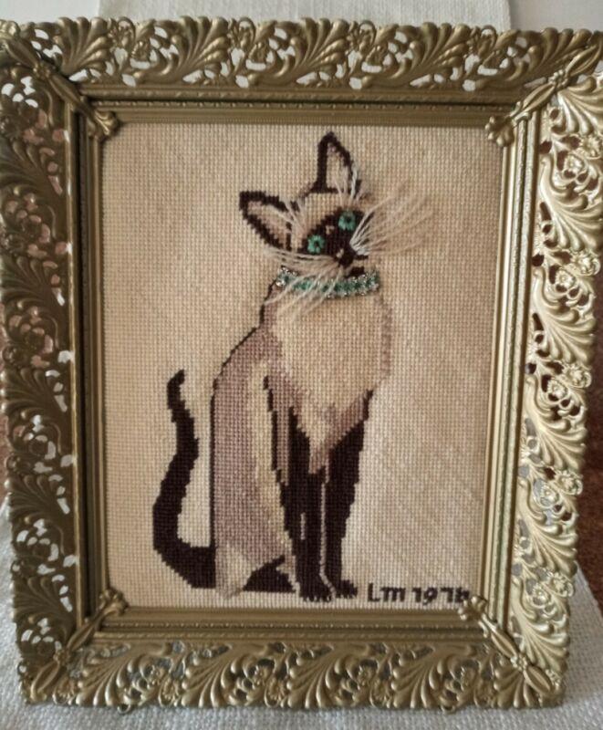 Framed Vintage Siamese Cat Cross Stitch Art, Rhinestone collar