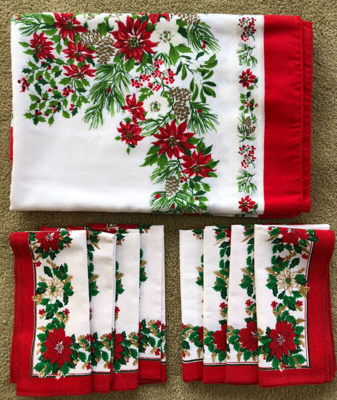 "Vintage Linens Made in Brazil Christmas Tablecloth 81"" X 60"" Plus 8 Napkins Nice"