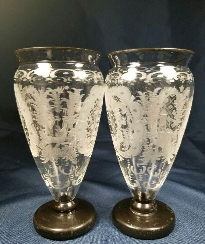 Rare Antique Egermann Bohemian Pair Clear Etched Vases Deer Castle Bird
