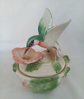 Fitz & Floyd Jewelry Box/Trinket Box Hummingbird Hibiscus 1988 Hand Painted