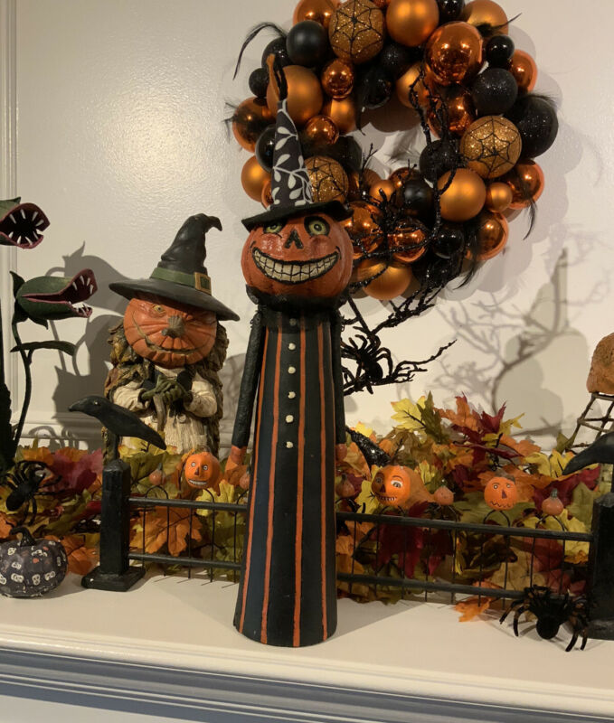 Halloween FOLK ART Pumpkin Witch Paper Mache Bethany Lowe LIKE Table Decor Nice!