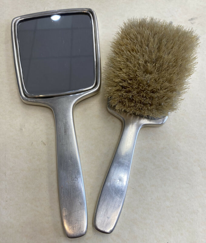 Antique Tiffany & Co. Makers 925 Sterling Silver Mirror & Brush Set W/Monogram