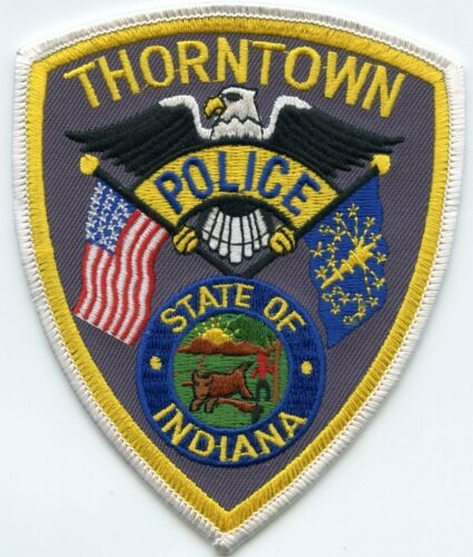 THORNTOWN INDIANA IN blue letters POLICE PATCH