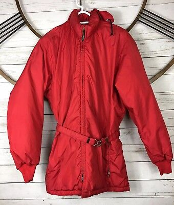 Tempco Red Hooded Ski Coat Quilted Parka Down Insulated Full Front Zip Womens M  Front Hooded Down Parka