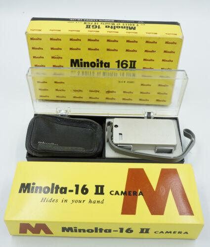Minolta-16 II Subminiature Spy Camera with case, strap, boxes, more #707