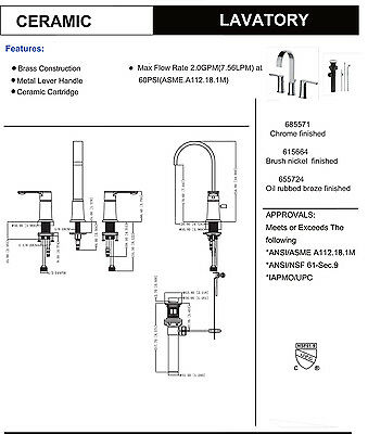 Designers Impressions Satin Nickel Widespread Bathroom Vanity Faucet 1