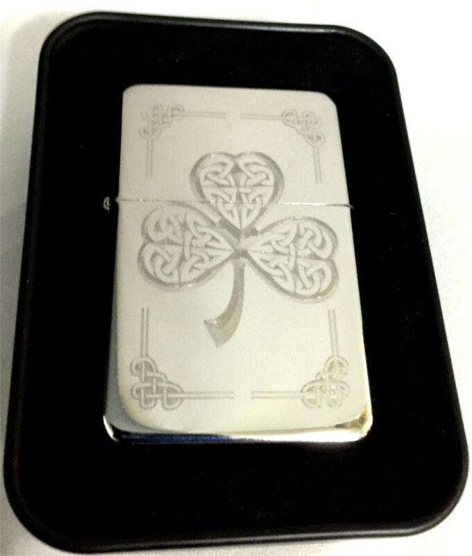 Celtic Knot Clover Irish Engraved Chrome Cigarette Lighter Gift LEN-0151