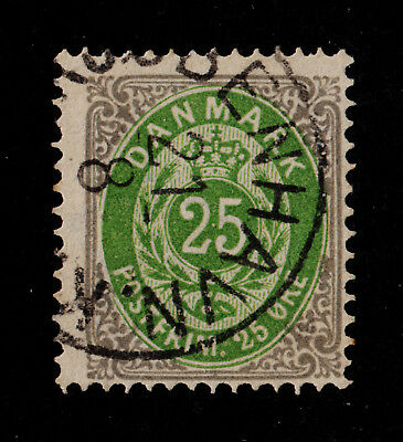 DENMARK #32 Used 1875, 25o Gray and Green PERF 14 x 13.5 SCV $40.00 for sale  Shipping to India
