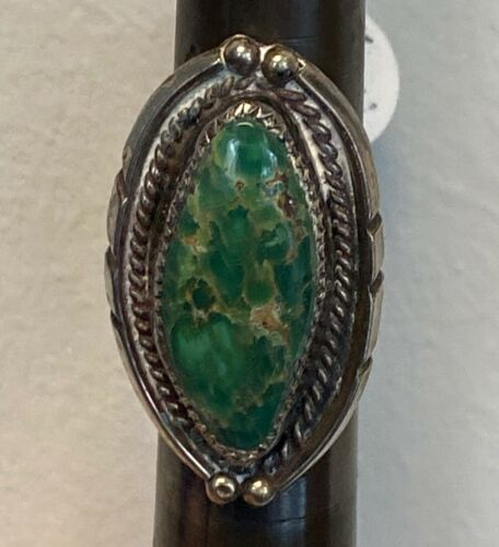 Navajo Ring with green turquoise