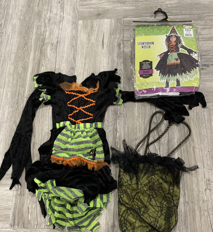 Storybook Witch Child Costume & Bag Size Small 4-6X Disguise No Hat