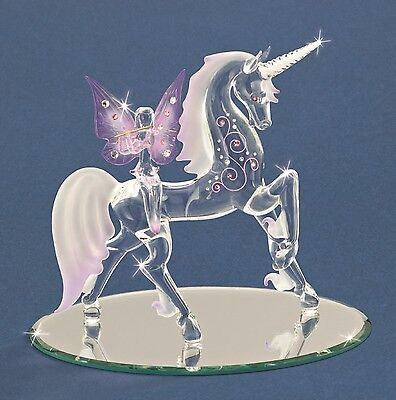 Glass Baron ~ Unicorn with Fairy Figurine with Crystals ~ New in Box ~ Large