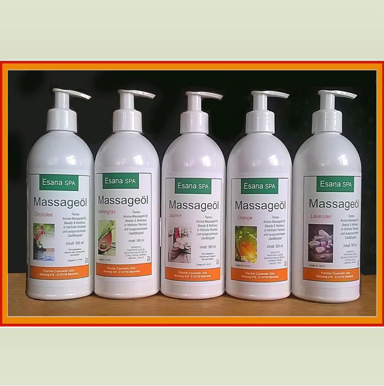 Esana SPA  Aroma Massageöl im Set (5 x 500 ml) - Wählen Sie selbst das Aroma