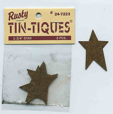 "PRIMITIVE RUSTY TIN 1-3/4"" STARS Package of 3 for Crafts by Rusty Tin Tiques on Rummage"