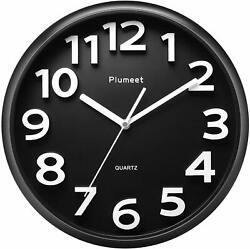 Plumeet Large Wall Clock, 13 Silent Non-Ticking Quartz Decorative Clocks,