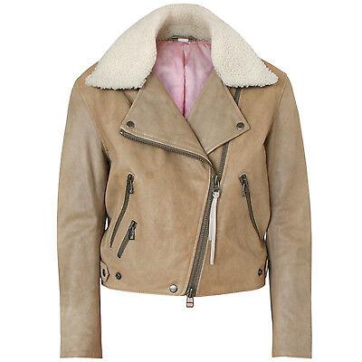 ACNE STUDIOS distressed tan leather biker coat shearling fur collar jacket 34/2