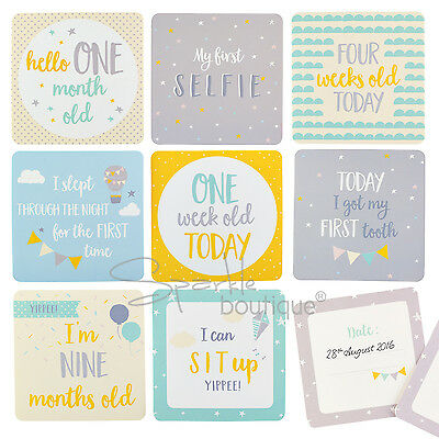 BABY MILESTONE CARDS -Unisex Design/Space To Log Dates- New Mum/Baby Shower Gift
