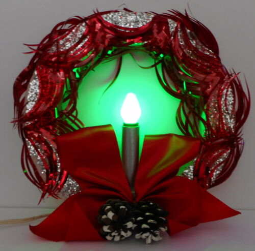 Vtg Christmas WREATH RINGALITE Lighted Red Eyelash Wisps Silver Candle in Box
