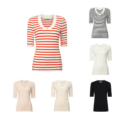 Muster Streifen T-shirts (OUI DAMEN T-Shirt Kurzarm V Ausschnitt Streifen Muster gestreift Shirt Top)