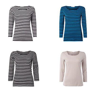 Muster Streifen T-shirts (Boss Shirt mit Streifen-Muster Damen T-Shirt Top modische Farben Baumwolle NEU)