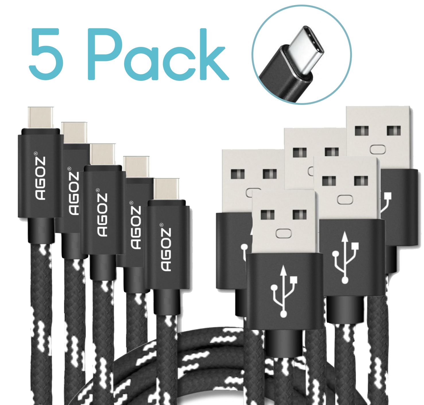 5 Pack Type-C USB-C Fast Charge Data Sync Cable for Samsung