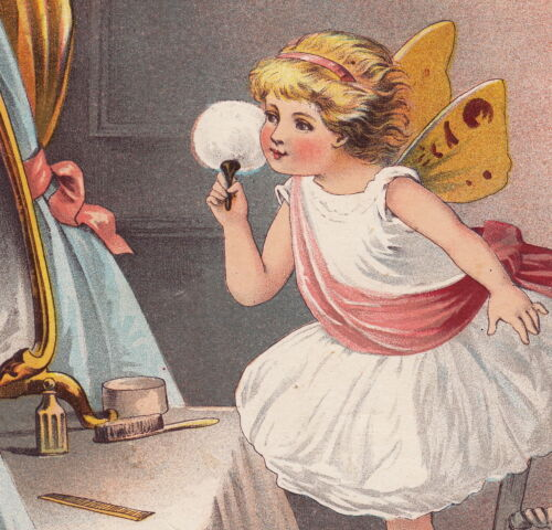Antique Large 1890 Fairy Girl Puff Ball McLaughlin Coffee Advertising Trade Card