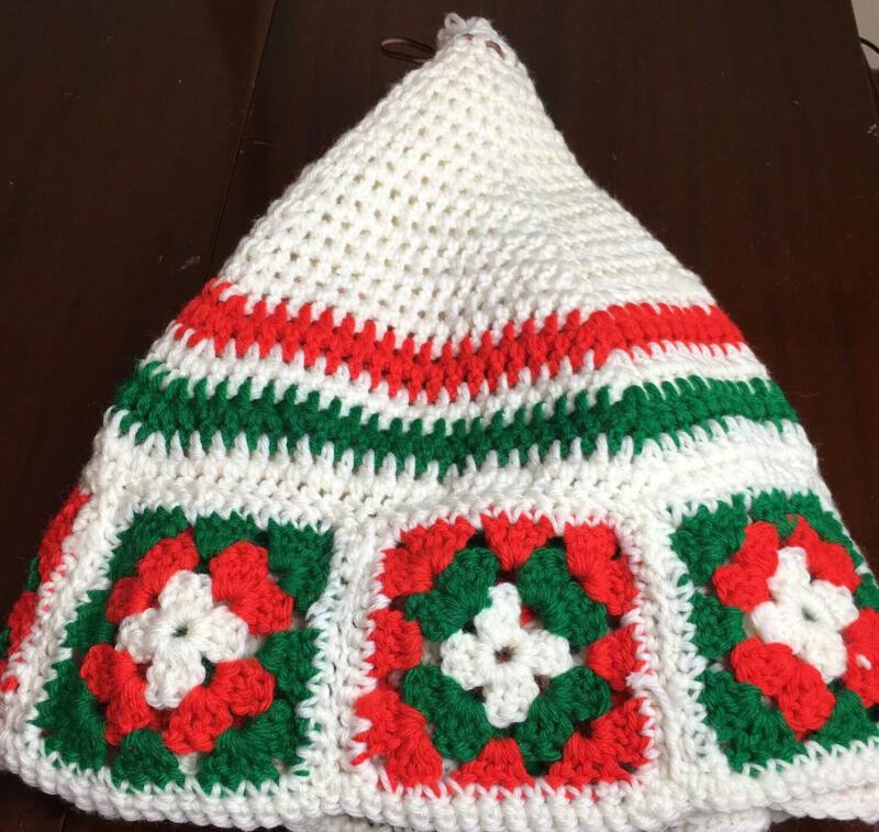 """Handmade Crochet Christmas Tree Skirt Granny Square 35"""""""