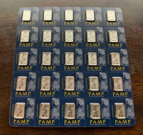 25x1 gram Platinum Bar PAMP Suisse Fortuna Multigram+25 (In Assay) AUTHENTIC