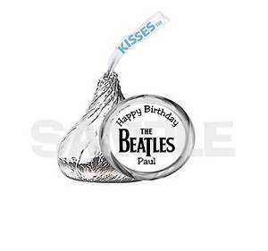 108  kiss labels PERSONALIZED Black & White BEATLES BIRTHDAY PARTY FAVOR