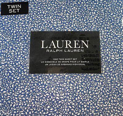 Ralph Lauren Twin Size Small  Leaf Floral Print Sheet Set Cotton Blue
