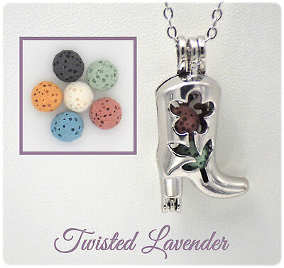 Cowboy Boot Essential Oil Aromatherapy Diffuser Necklace with 6 lava stones