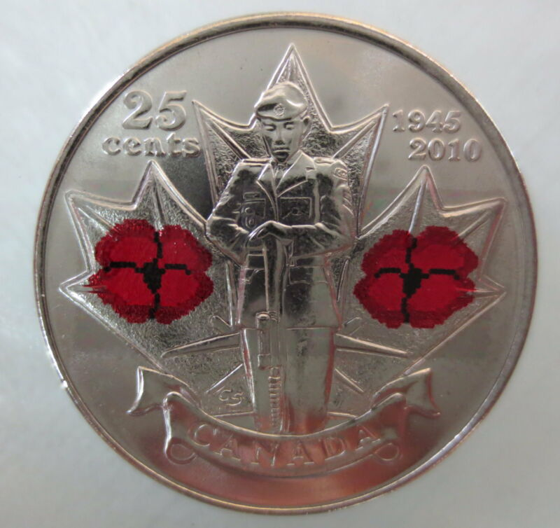 2010 CANADA 25¢ POPPY COLORED QUARTER UNCIRCULATED FROM MINT ROLL COIN