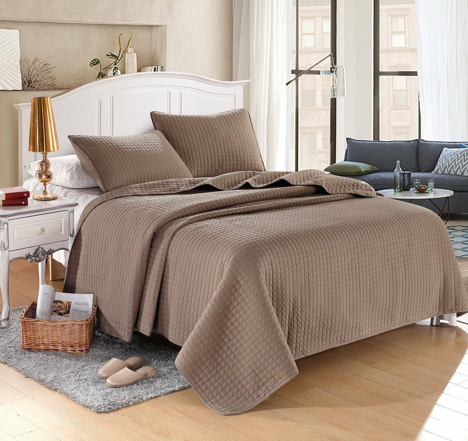 Taupe Brown Solid Color Hypoallergenic Quilt Coverlet Bedspr