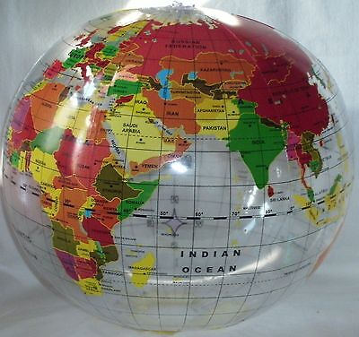 "2 GLOBE BEACH BALLS 16"" Pool Party Earth World Map Teacher #AA75 Free Shipping"