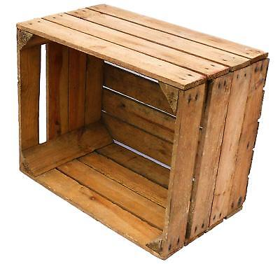 LIGHT NATURAL VINTAGE WOODEN APPLE FRUIT CRATE RUSTIC OLD BUSHEL BOX HAMPER...