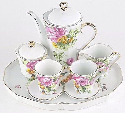 MINIATURE PINK ROSES PORCELAIN TEA SET TEAPOT SUGAR BOWL CREAMER 2 TEACUPS Rose Miniature Tea Set