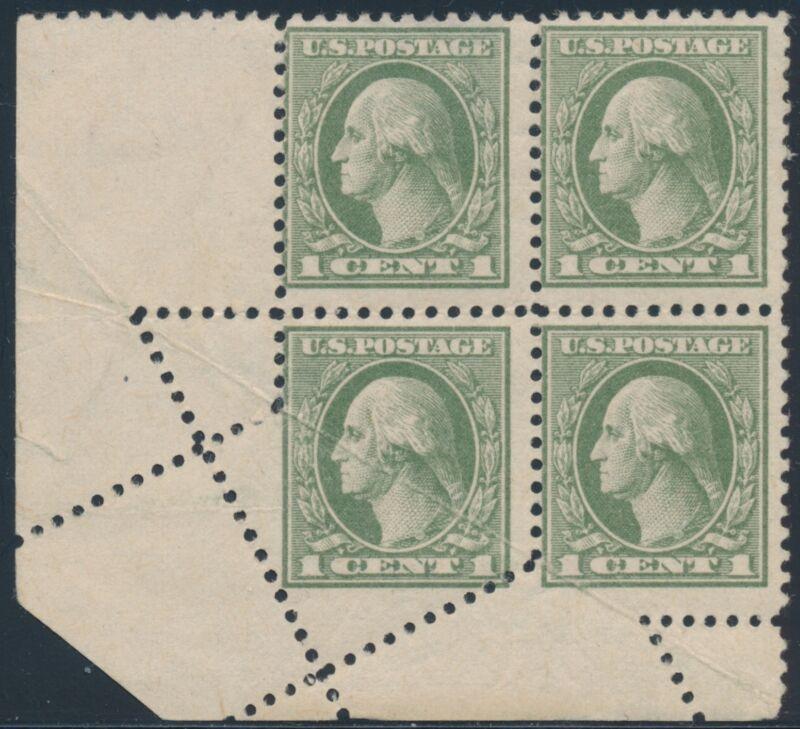 #525 Var. 1¢ Washington With  Major Fold-over Error Block Of 4 Bs3963