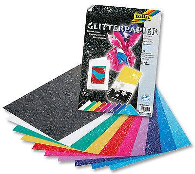 Folia Glitterpapier 70g/m², 23x33cm, 10 Blatt in 10 Farben