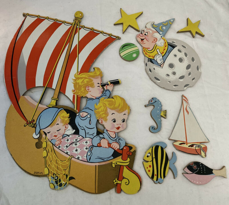 Vintage 1957 Nursery Baby Wall Hanging Decor Wynken Blynken & Nod ~ DOLLY TOY CO