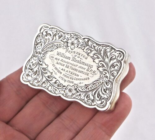 Edwardian Sterling Silver Snuff Box Trophy. GPO Post Office Presentation 1908.