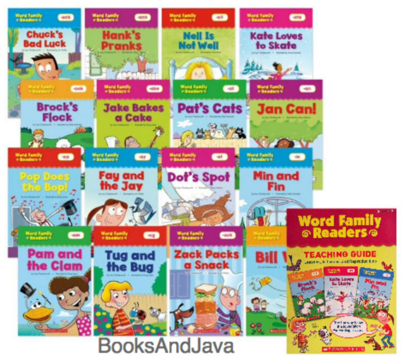 16 SCHOLASTIC WORD FAMLY READERS PLUS Teaching Guide - Top 16 Word Families  NEW