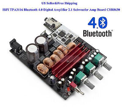 US HiFi TPA3116 Bluetooth 4.0 Digital Amplifier 2.1 Subwoofer Amp Board CSR8630