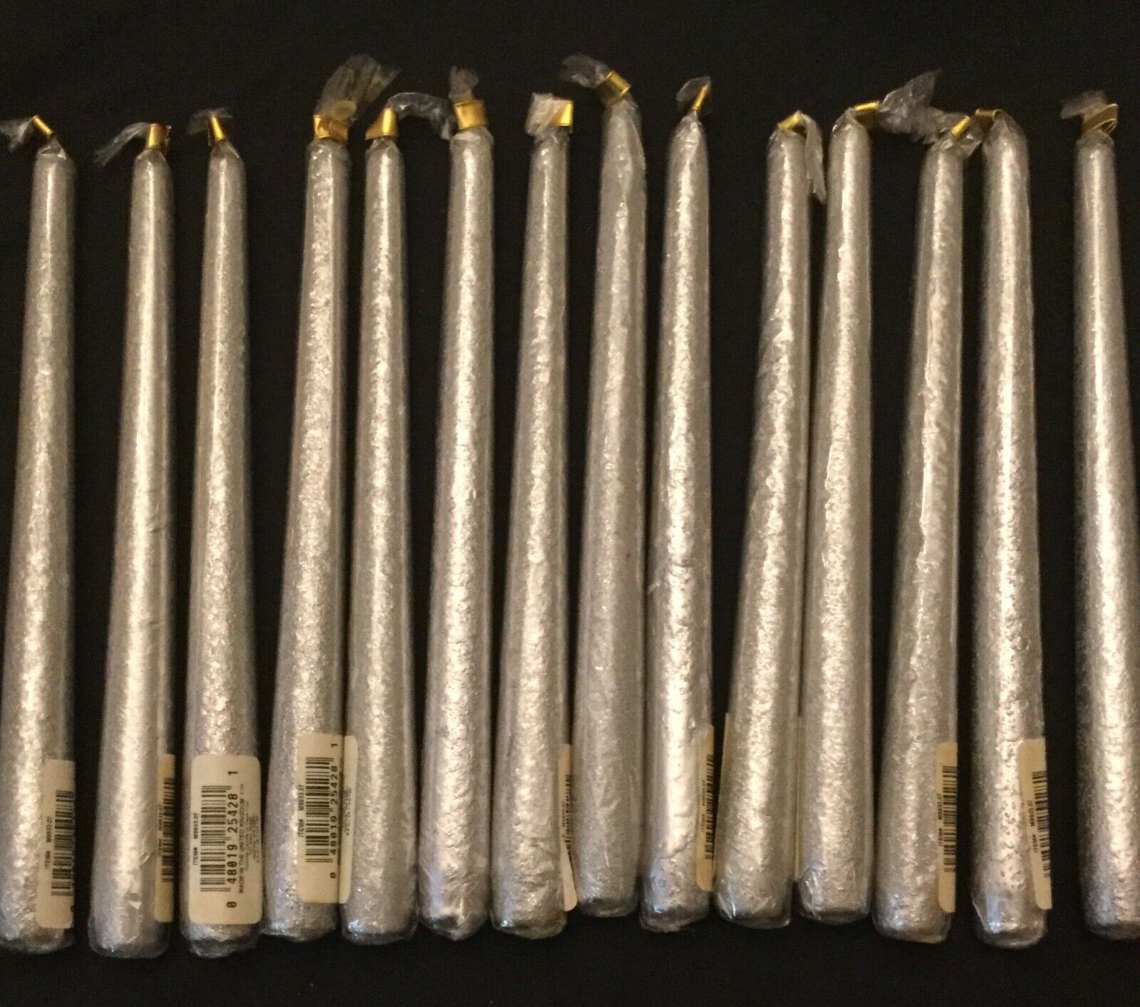 14 Taper Candles Colonial Candle Of Cape Cod 10 Silver Metallic NEW  - $22.00