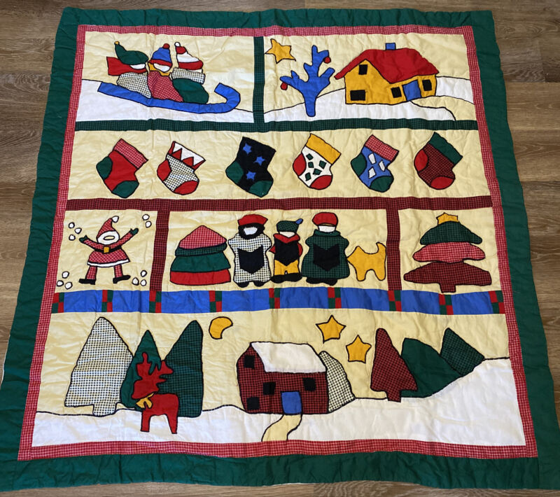 Quilted Wall Hanging Lap Quilt Throw ~ 50' Sq Winter Christmas Cabin Red Black