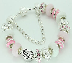 LADIES WOMENS PERSONALISED SPARKLE CHARM BEAD BRACELET BIRTHDAY PRESENT GIFT