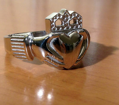 11mm Mens Claddagh Wedding Irish Ring Band 10k White Gold Large Size Quality