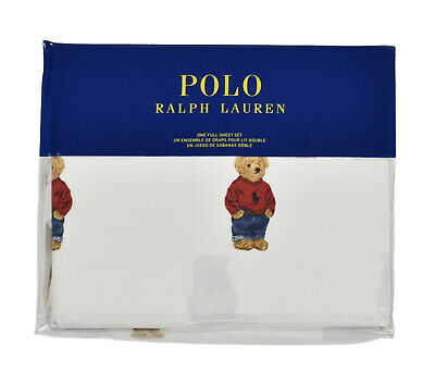 Ralph Lauren Polo White Cotton Teddy Bear 4 PC Full Sheet Set New 4' White Teddy Bear
