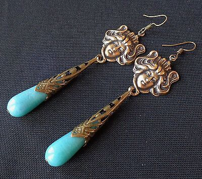 Vintage Earrings Long Art Nouveau Goddesses W/ Agate Teardrops