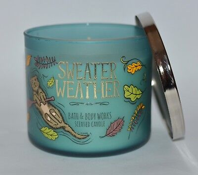 NEW BATH & BODY WORKS SWEATER WEATHER SCENTED CANDLE 3 WICK 14.5 OZ LARGE TEAL (Teal Candles)
